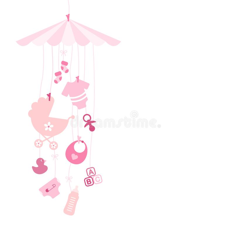 Hanging Baby Mobilé With Icons Girl Pink stock illustration