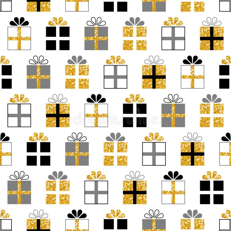 Seamless Pattern Square Gifts Glitter Gold Black Gray royalty free illustration