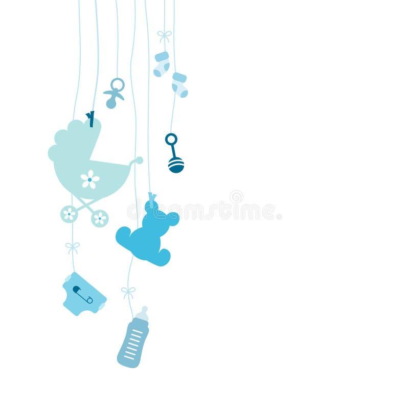 Seven Left Hanging Baby Icons Boy Blue stock illustration