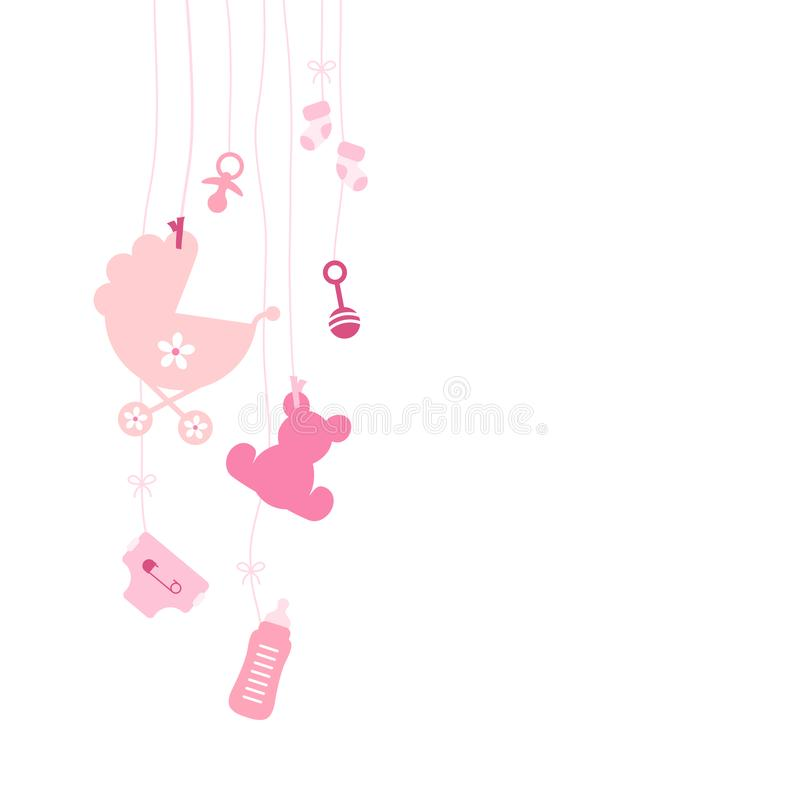 Seven Left Hanging Baby Icons Girl Pink stock illustration