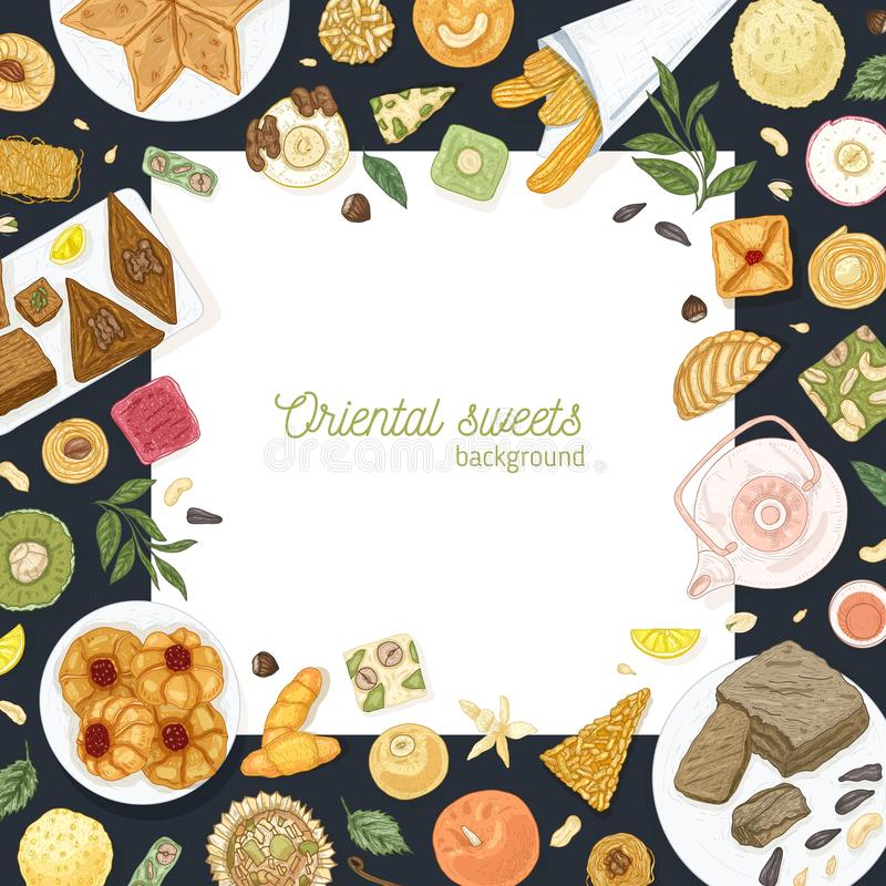 Square background template with frame made of oriental sweets lying on plates. Traditional dessert meals, tasty. Confections, delicious pastry food. Elegant vector illustration