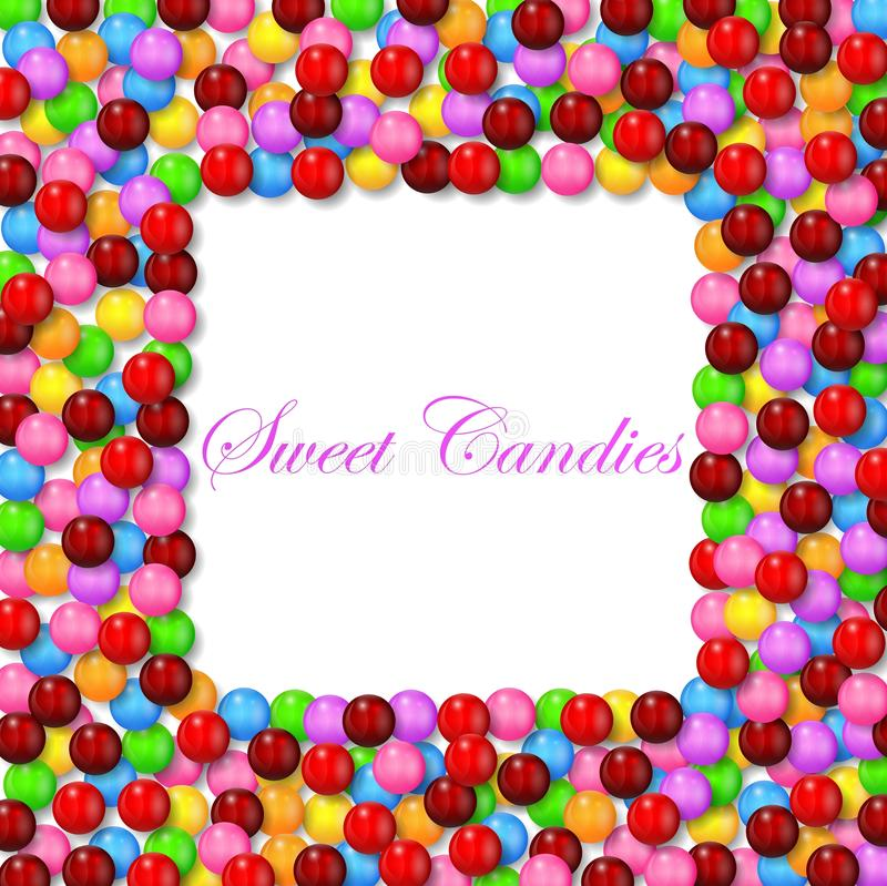 Square background with various sweet candy on frame stock illustration