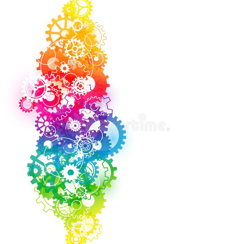 Backround Vertical Abstract Graphic Gears Rainbow Color royalty free illustration