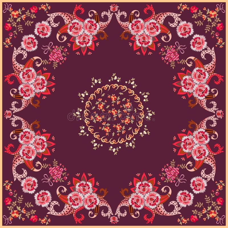 Square bandana print in ethnic style with bright paisley ornament and stylized roses and tulips flowers on dark purple background. Vector illustration vector illustration