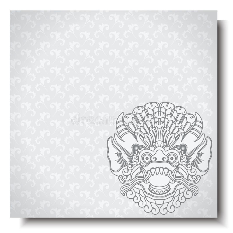 Square banner with Barong head. Balinese traditional ornament. Silver background. royalty free illustration
