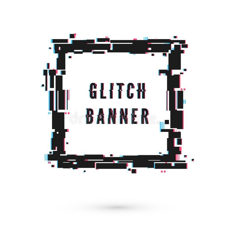 Square banner with distortion effect - Glitch. Digital technology modern poster and flyer template. Vector illustration. Isolated on white background vector illustration