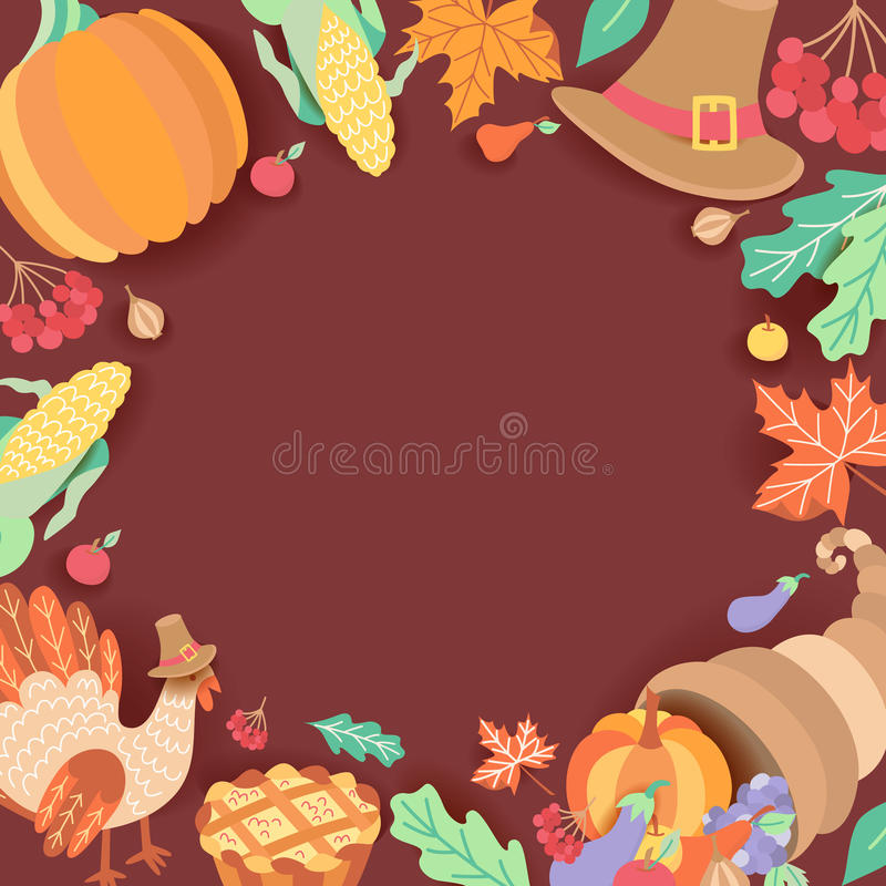 Square banner, frame with thanksgiving symbols royalty free illustration