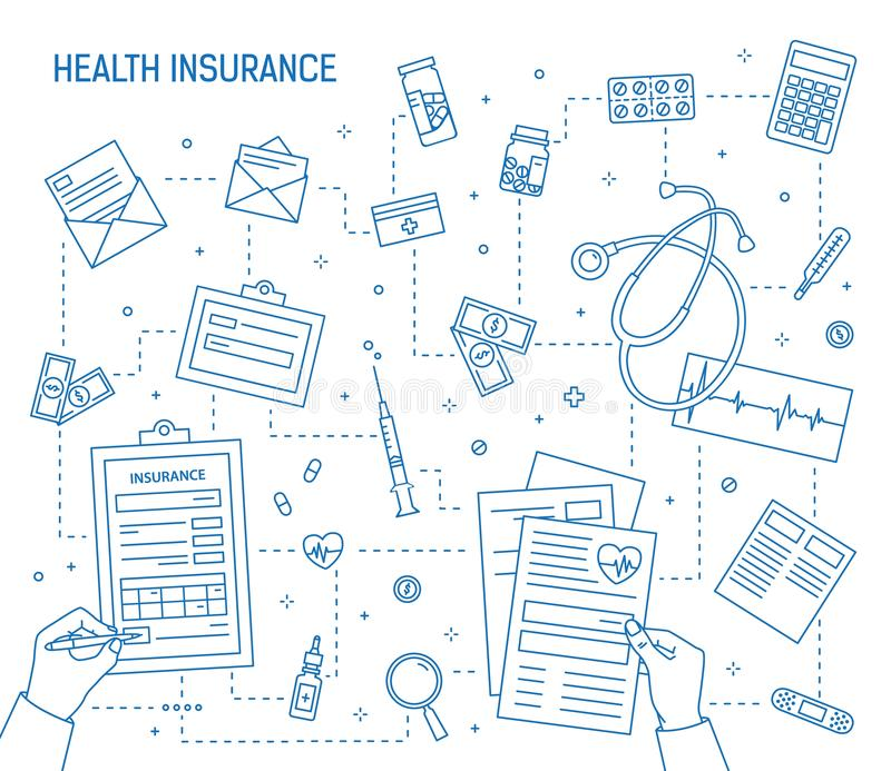 Square banner with hands filling out document of health insurance surrounded by medicines, medical tools, money bills. Coins drawn with contour lines royalty free illustration