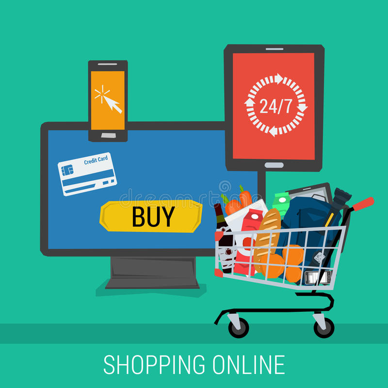 Square banner online shopping and payment. Vector concept online shopping and payment. Computer tablet and smartphone with the possibility to carry out payments royalty free illustration