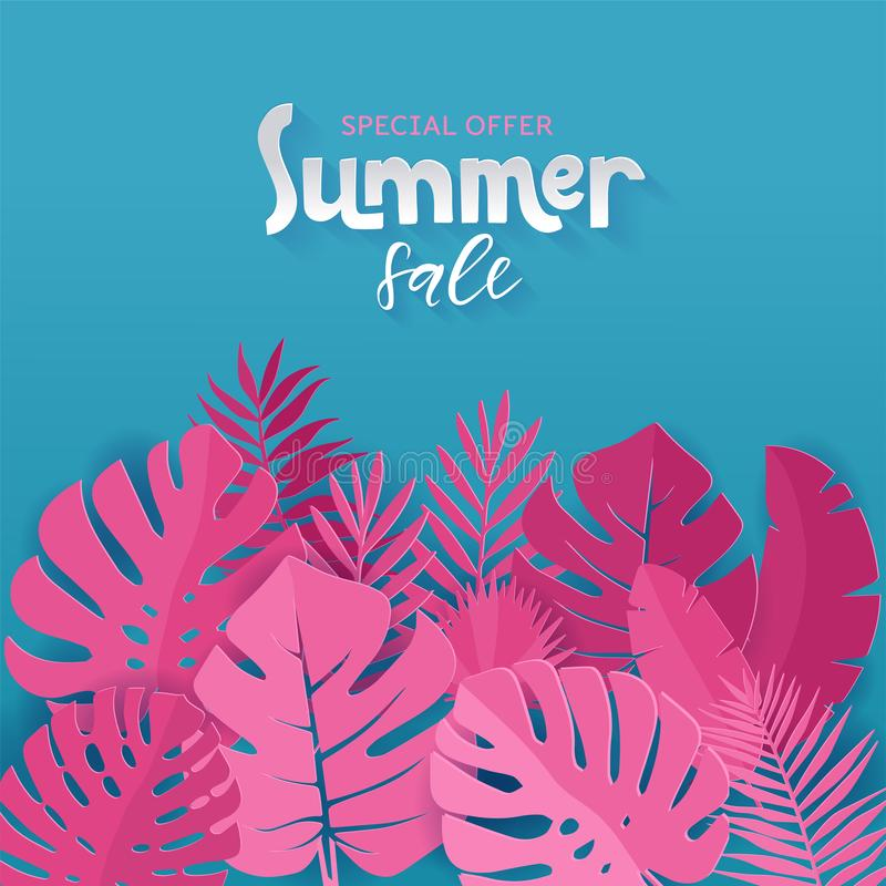 Square banner of Special offer Summer sale with pink palm, monstera, banana leaves on blue background with hand lettering. Paper stock illustration