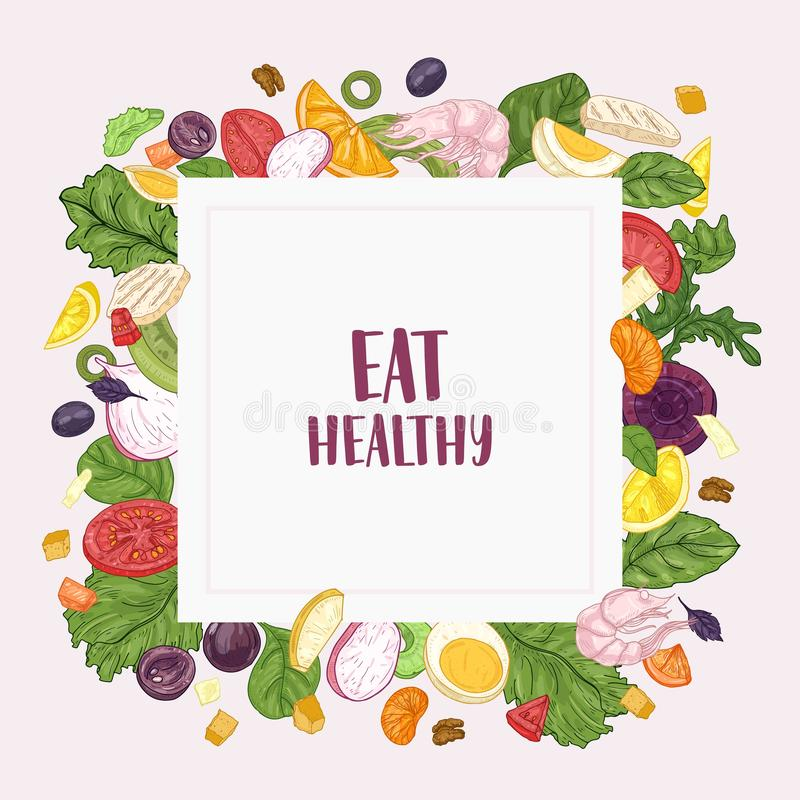 Square banner template with Eat Healthy slogan and frame made of chopped salad ingredients - vegetables, fruits, chicken royalty free illustration