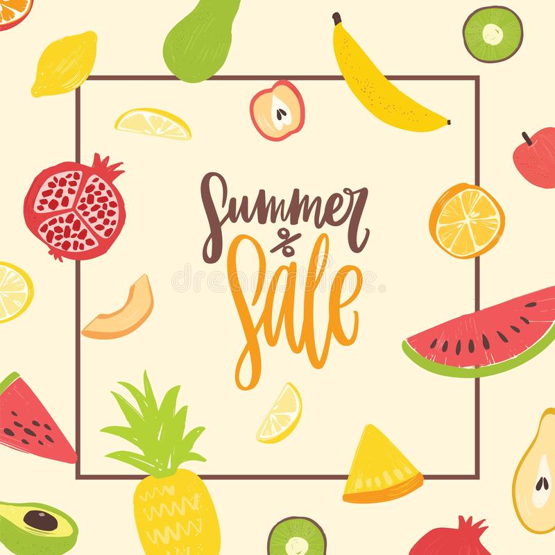 Square banner template for Summer Sale decorated by natural organic tropical exotic juicy fruits. Modern vector. Illustration in flat style for seasonal vector illustration