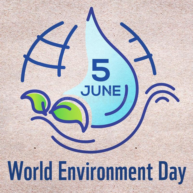 Square banner for World environment day with line illustration, lettering and earth on craft paper background. Poster, website. Cover stock illustration