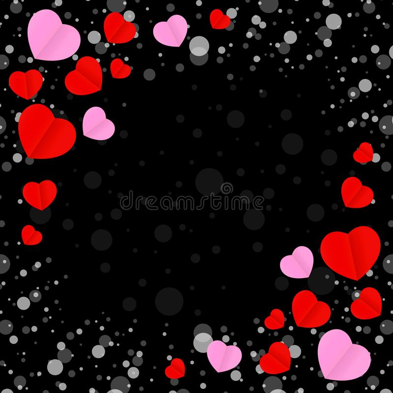 Square black frame and red pink heart shape for template banner valentines card black background, many hearts shape on black stock illustration