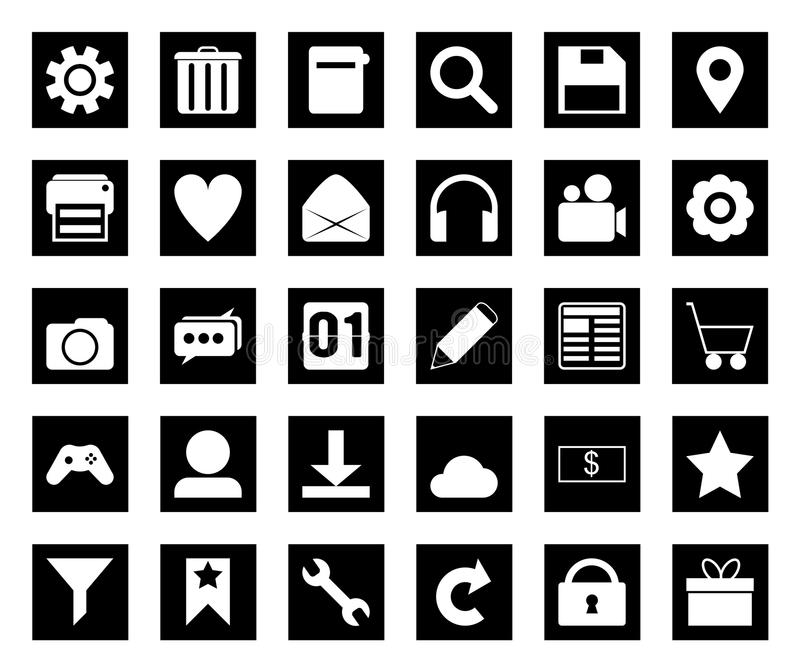Square black icon set royalty free stock images