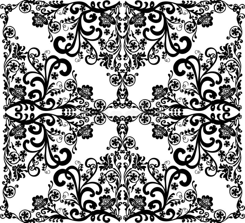 Square black on white floral design stock illustration