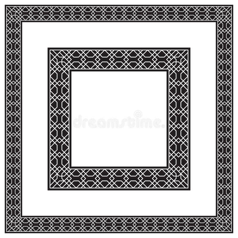 Square Black And White Frames, Geometric Pattern. Stock Vector ...