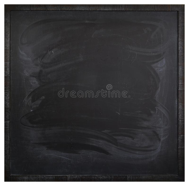 Square blank blackboard with stains from a wet rag. In dark frame stock photos