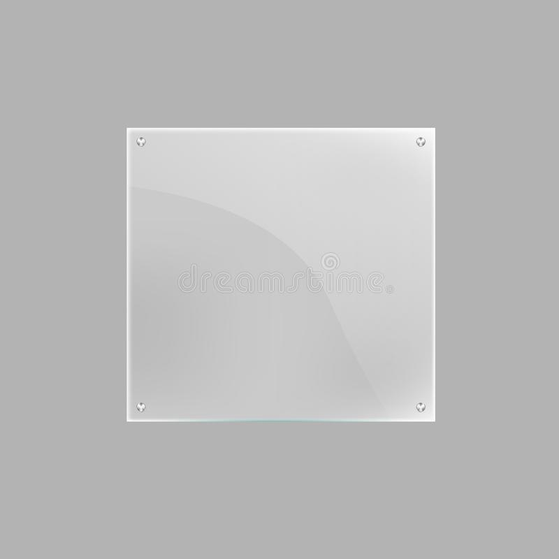 Square blank glass plate isolated icon. Glassy signage template, clear acrylic signboard design element illustration stock illustration