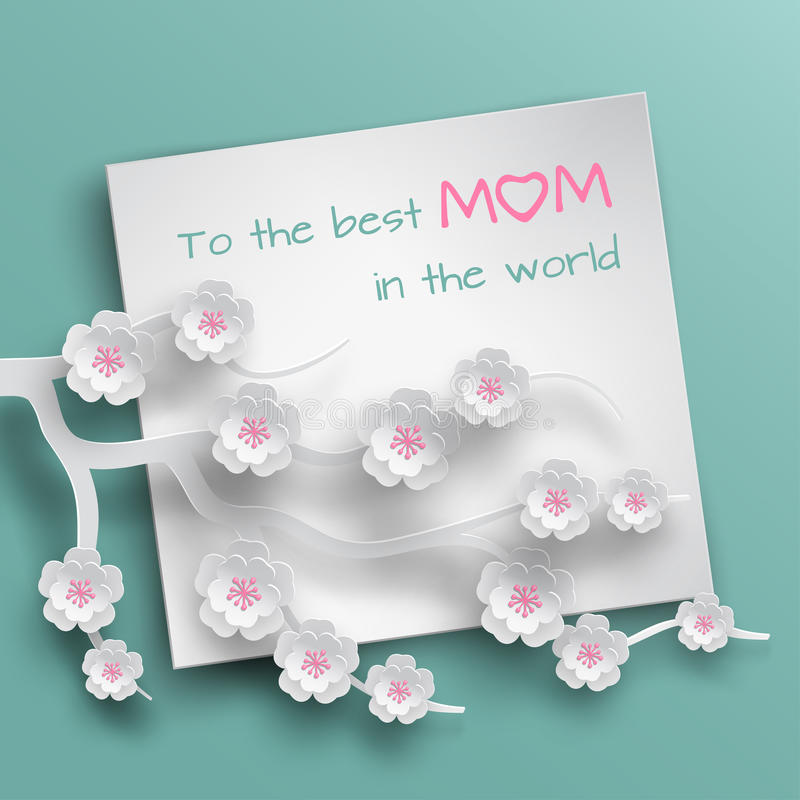 Square blank sheet of paper with congratulations text decorated branch of cherry flowers on green background for mother`s day card royalty free illustration