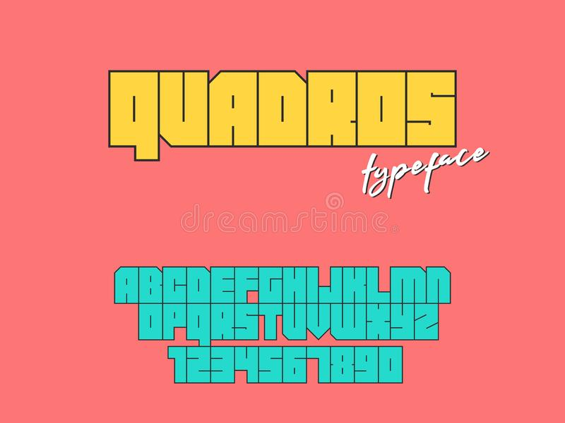 Vector square block font. Latin alphabet letters and numbers vector illustration