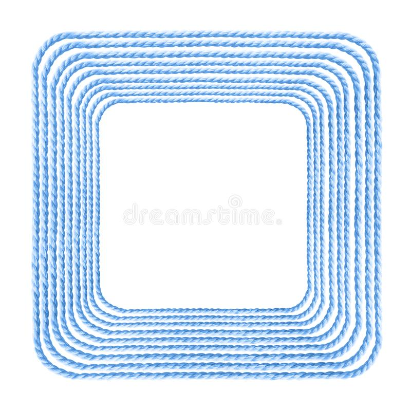 Square blue cotton rope frame stock photography