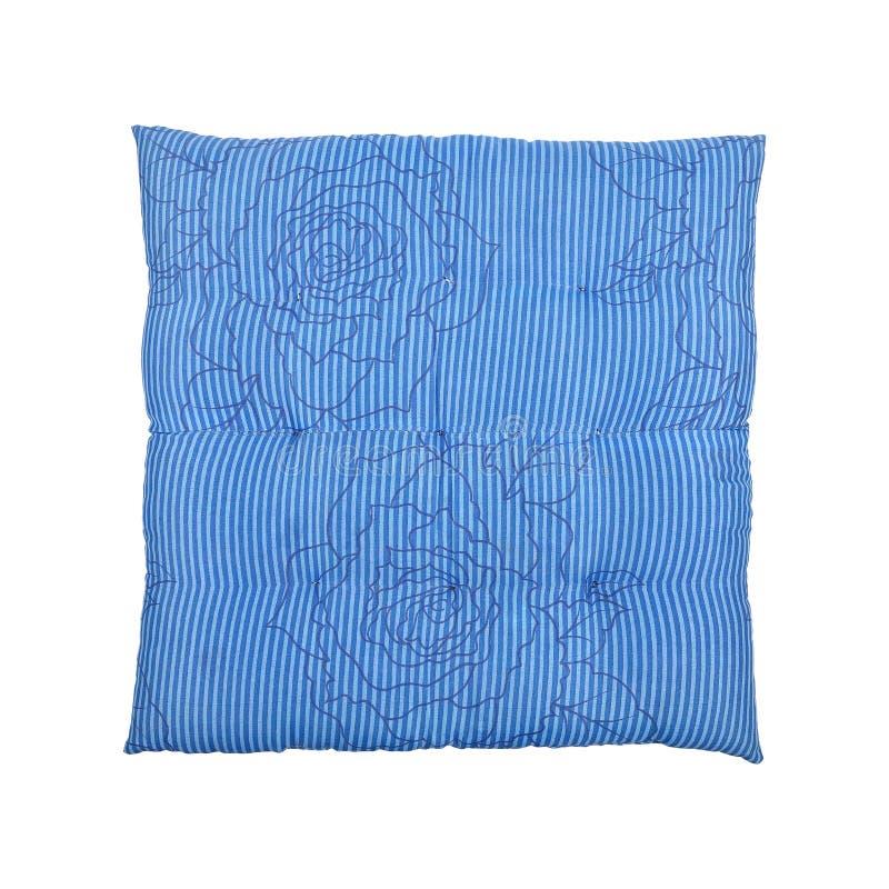 square blue cushion isolated on white stock photo