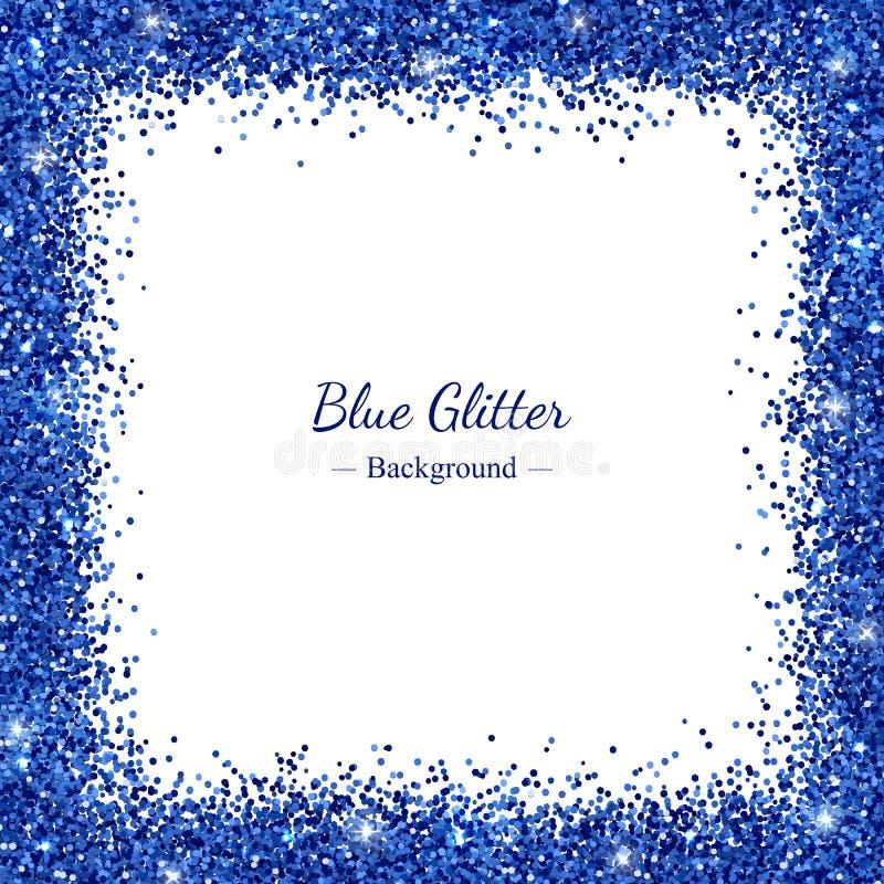 Square border frame with blue glitter on white background. Vector. Illustration stock illustration