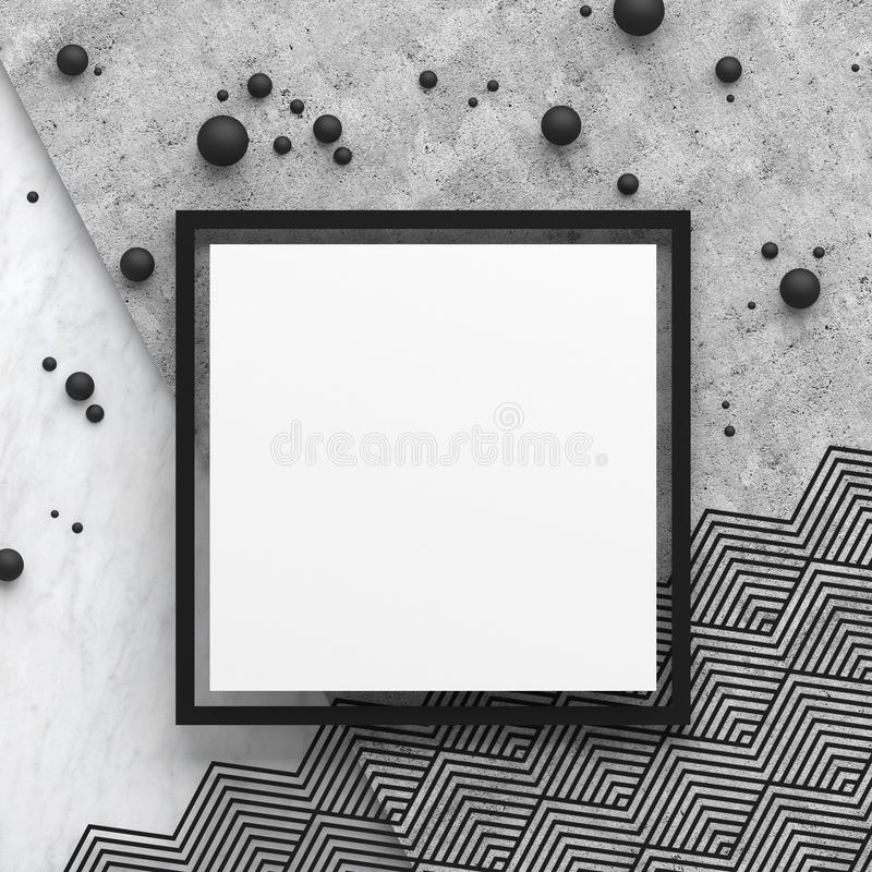 A square border frame on marble stone and concrete surface with a zigzag pattern on white background. Copy space. Abstract geometr. Ic composition in black and stock illustration