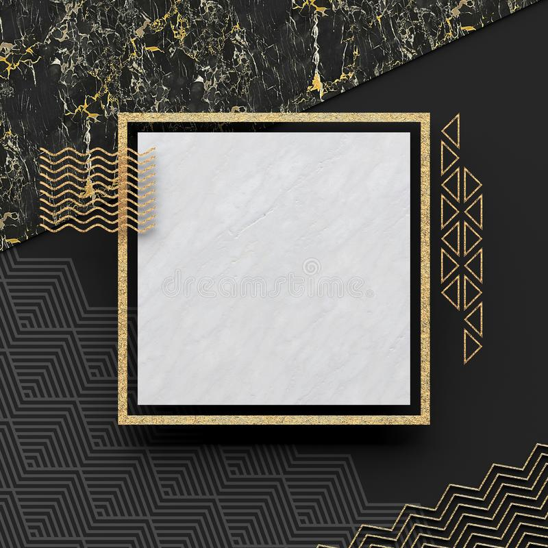 A square border frame on white marble stone with a dark background and textured gold elements. Copy space. Abstract geometric comp. Osition. 3D render vector illustration