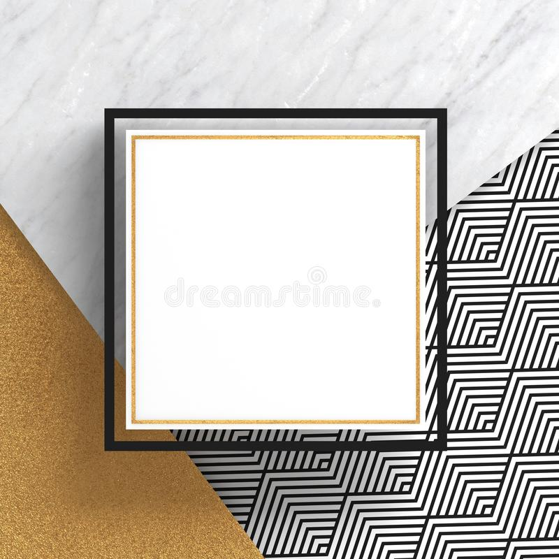 A square border frame on white marble stone and gold surface with a zigzag pattern on white background. Copy space. Abstract geome. Tric composition. 3D render stock illustration
