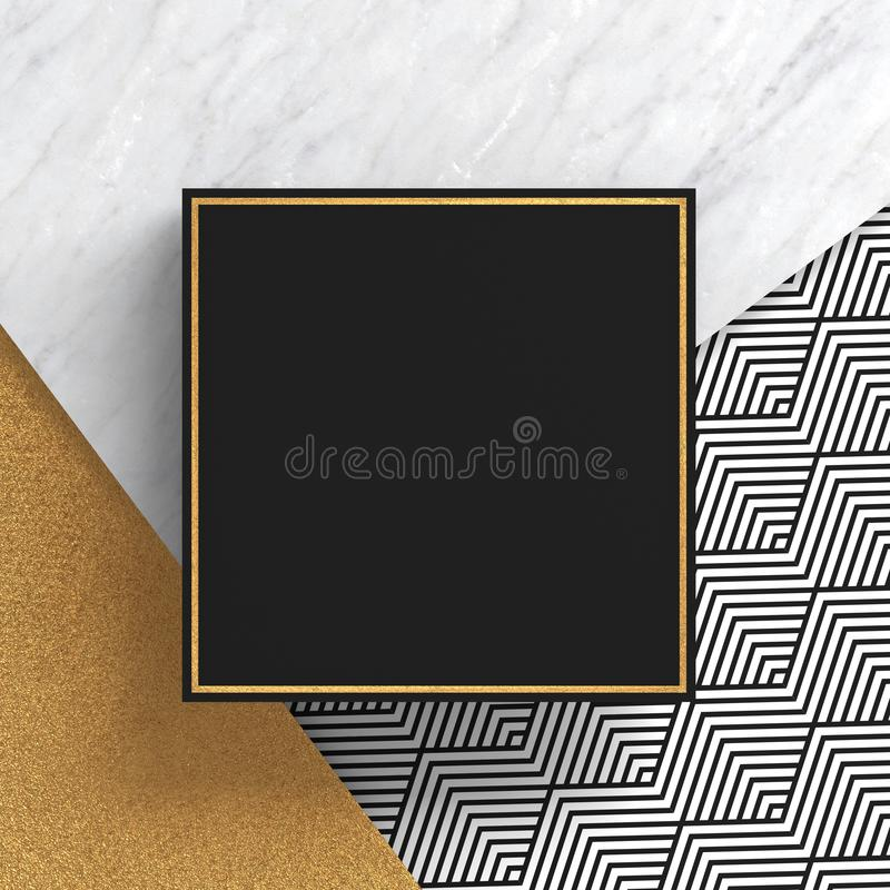 A square border frame on white marble stone and gold surface with a zigzag pattern on black background. Copy space. Abstract geome. Tric composition. 3D render stock illustration