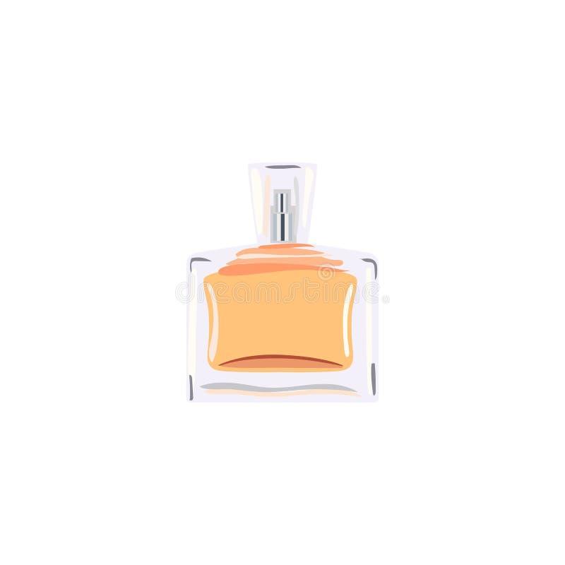 Square Bottle with orange liquid. vial for perfume, medicine, cosmetics, alcohol, drinks. flacon royalty free illustration
