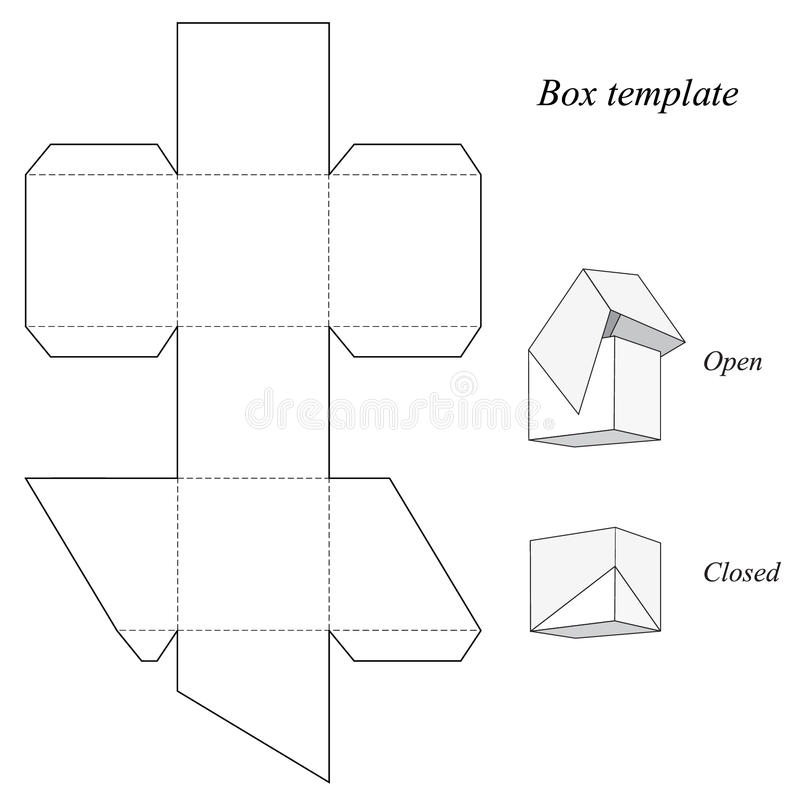 Square Box Template With Lid Stock Vector Illustration Of Birthday