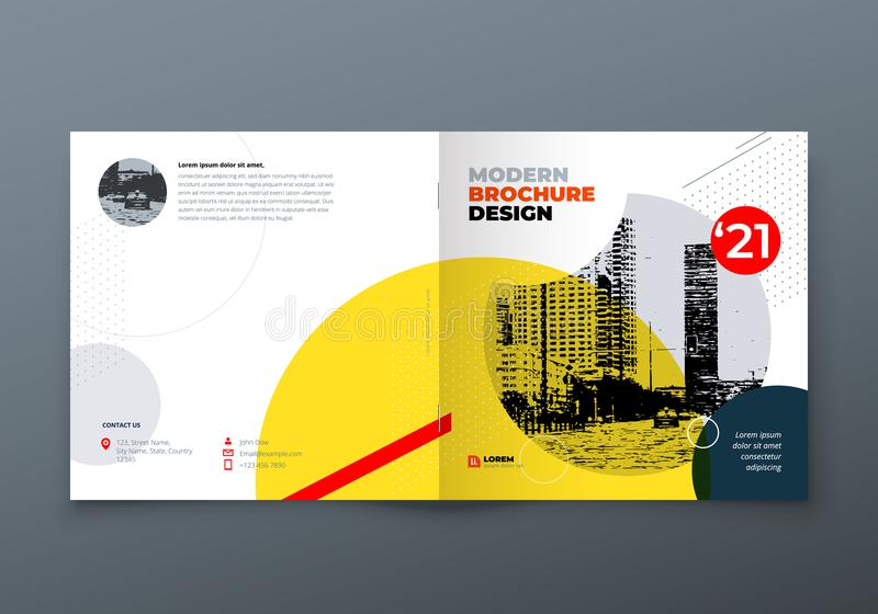 Square Brochure design. Corporate business rectangle template brochure, report, catalog, magazine. Brochure layout. Modern memphis abstract background. Vector royalty free illustration