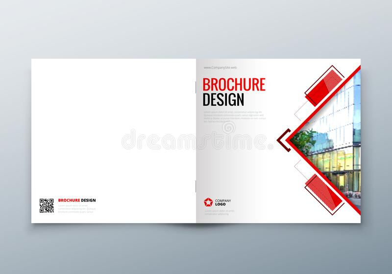 Square Brochure design. Corporate business template for rectangle brochure, report, catalog, magazine. Corporate stock illustration