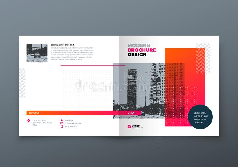 Square Brochure design. Orange corporate business rectangle template brochure, report, catalog, magazine. Brochure stock illustration