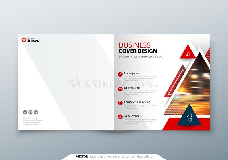 download square brochure design red corporate business rectangle template brochure report catalog
