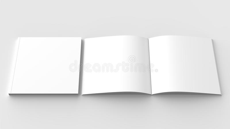 Square brochure, magazine, book or catalog mock up isolated on s vector illustration