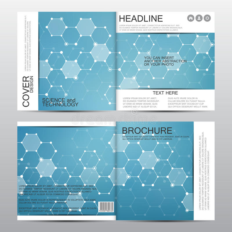 Square brochure template with molecular structure. Geometric abstract background. Medicine, science, technology. Vector royalty free illustration