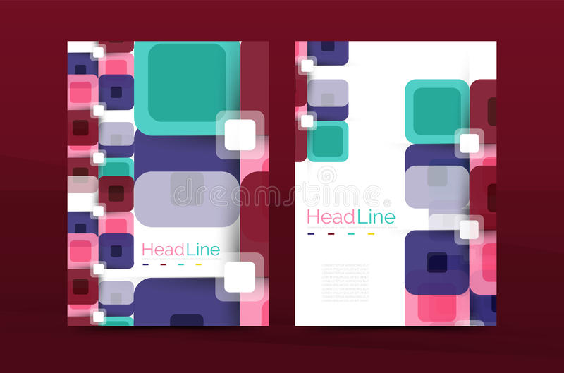 Square business abstract background, corporate print template. Vector royalty free illustration