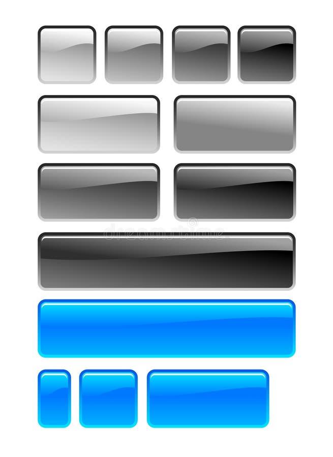 Square button. Gray, black and blue square button