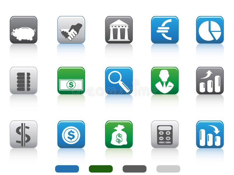 Square Button Of Finance And Banking Icons Royalty Free Stock Photos