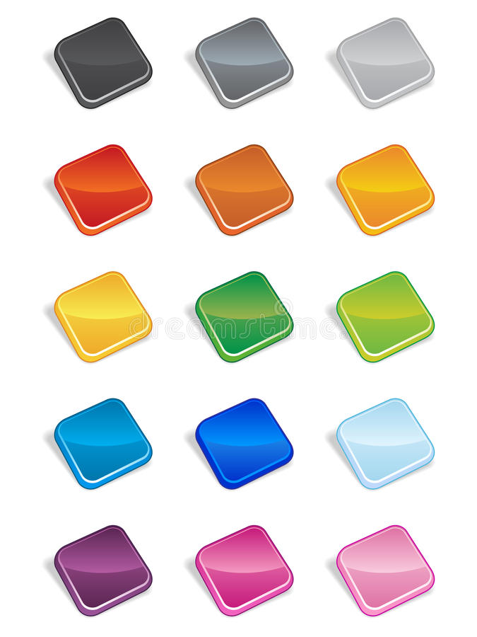 Square Buttons 3D stock illustration
