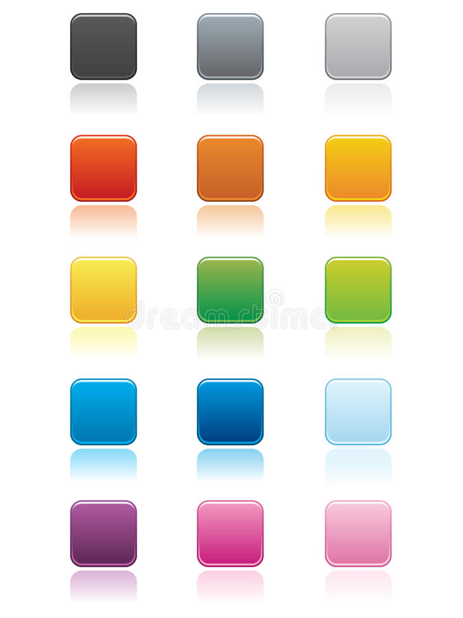 Square Buttons EPS. Large square buttons in various colors with rounded edges. Reflection placed on separate layer for ease of use