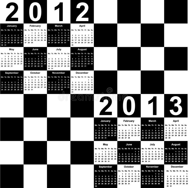 Square calendar for 2012 and 2013 royalty free stock image