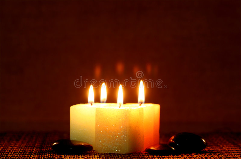 Download Square Candle With River Stone Stock Photo - Image: 4964440