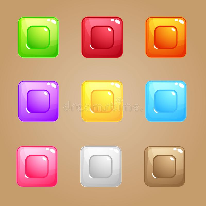 Square Candy Block Puzzle Colorful match 3 button glossy jelly. royalty free illustration
