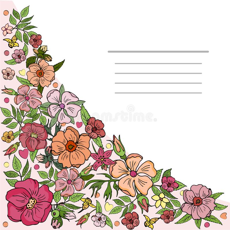 Square card, banner with a corner element of pink flowers. Vector. royalty free illustration