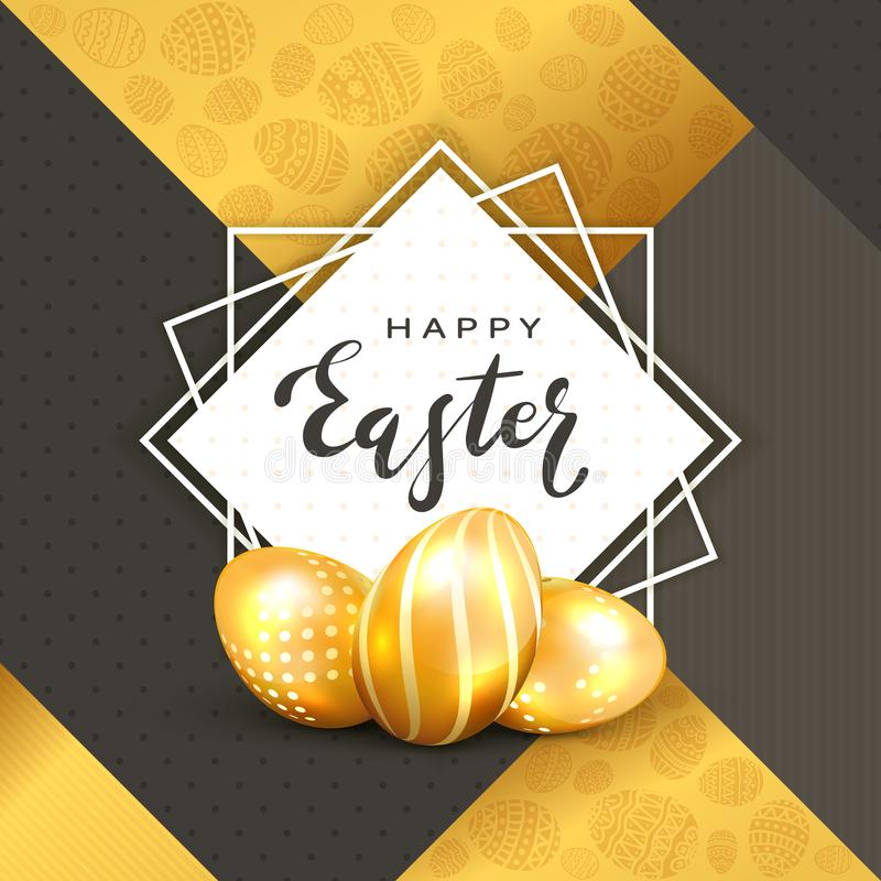 Square card with Golden Easter Eggs on Black and Gold Background royalty free illustration